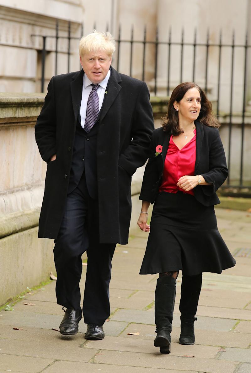 Mayor of London Boris Johnson and his wife Marina Wheeler walk through Downing Street on their way to the annual Remembrance Sunday service at the Cenotaph memorial in Whitehall in 2015. (PA)