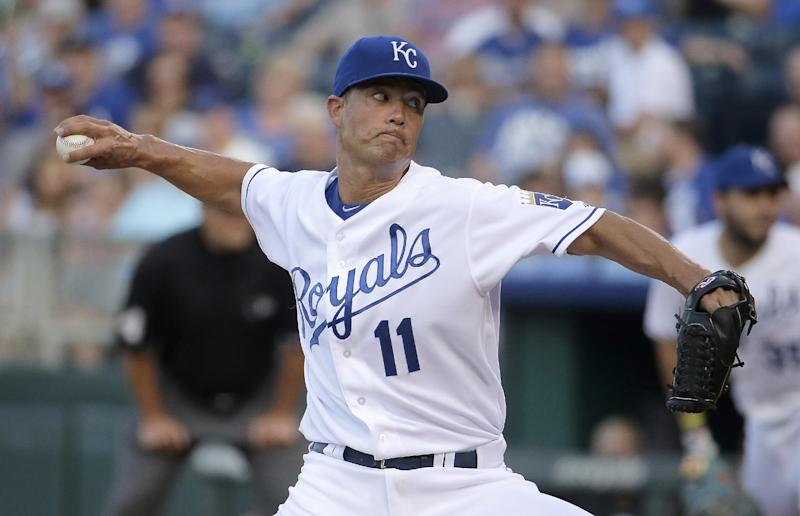 Kansas City Royals starting pitcher Jeremy Guthrie throws during the first inning of a baseball game against the Detroit Tigers Thursday, July 10, 2014, in Kansas City, Mo. (AP Photo/Charlie Riedel)