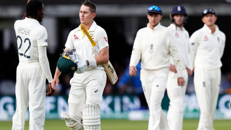 Marnus Labuschagne, pictured here walking off after the controversial catch. (Photo by ADRIAN DENNIS/AFP/Getty Images)