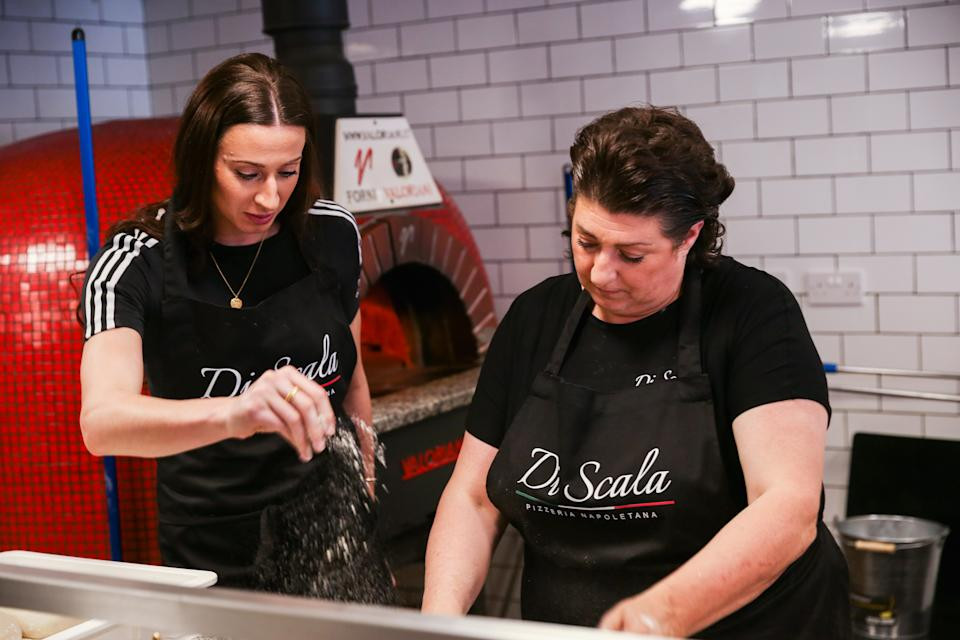 The Merseyside star paid a visit to her family's pizzeria as she took a well-deserved break from her rigorous training regime