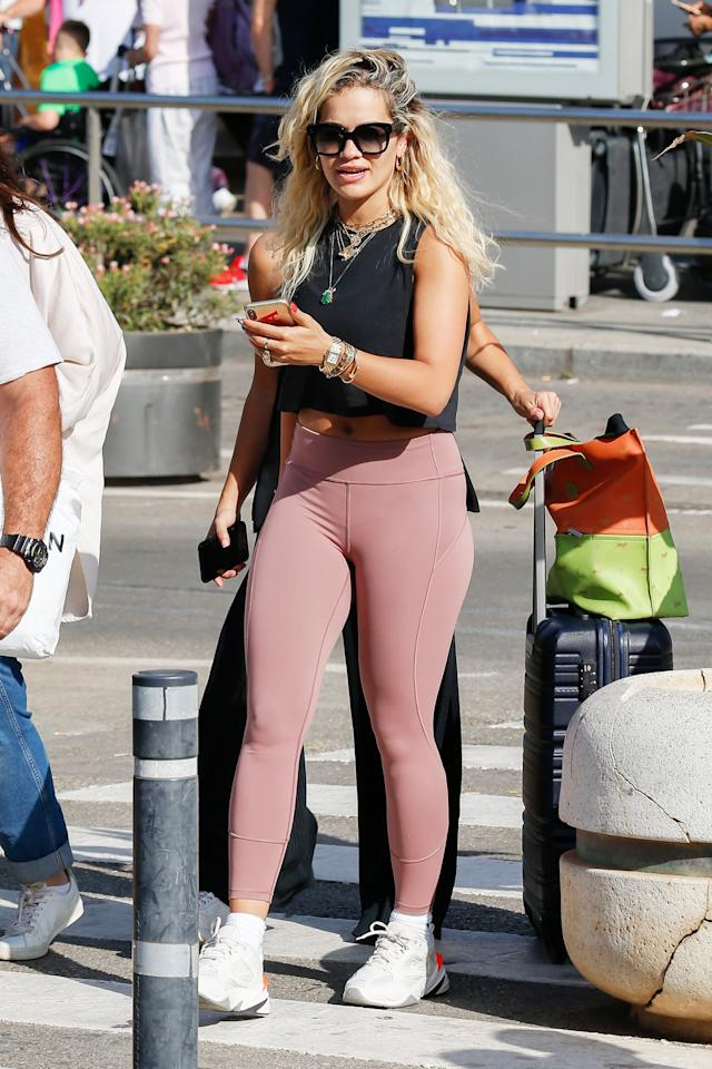 Rita Ora keeps comfy on Friday while out in Ibiza, Spain.
