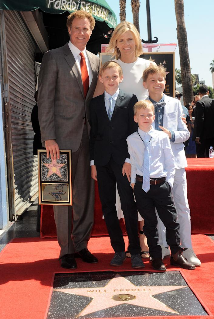 Ferrell and his family attend his star ceremony at the Hollywood Walk of Fame on March 24, 2015. (Photo: Albert L. Ortega via Getty Images)