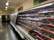 Empty shelves are seen at a Marks & Spencer store in Dublin