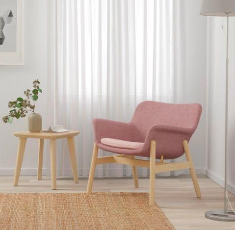 """<p>IKEA - £150.00</p><p><a class=""""link rapid-noclick-resp"""" href=""""https://go.redirectingat.com?id=127X1599956&url=https%3A%2F%2Fwww.ikea.com%2Fgb%2Fen%2Fp%2Fvedbo-armchair-gunnared-light-brown-pink-00423580%2F&sref=https%3A%2F%2Fwww.elle.com%2Fuk%2Flife-and-culture%2Fg35971143%2Fsmall-bedroom-chairs%2F"""" rel=""""nofollow noopener"""" target=""""_blank"""" data-ylk=""""slk:SHOP NOW"""">SHOP NOW</a></p><p>The dusty pink cushion and wooden frame will add a touch of Scandi to your room. To complete the look, put a lamp on the matching <a href=""""https://www.ikea.com/gb/en/p/lisabo-side-table-ash-veneer-10297656/"""" rel=""""nofollow noopener"""" target=""""_blank"""" data-ylk=""""slk:LISABO"""" class=""""link rapid-noclick-resp"""">LISABO</a> table.</p>"""