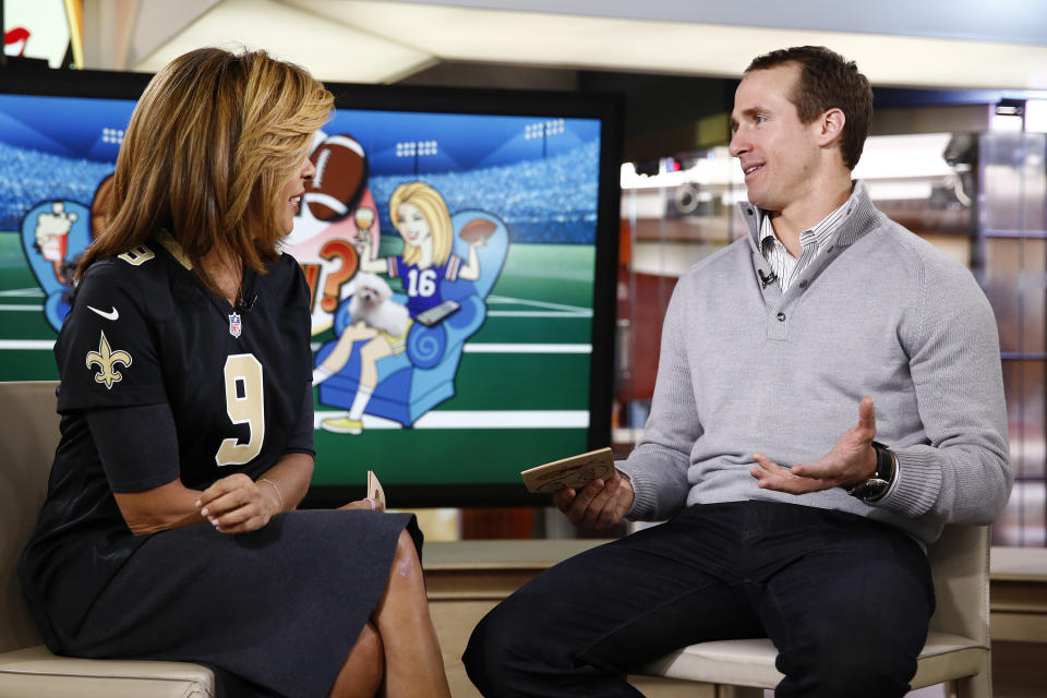 Drew Brees' first post-retirement job will be as a broadcaster and analyst for NBC Sports. (Photo by: Peter Kramer/NBC/NBC Newswire/NBCUniversal via Getty Images)
