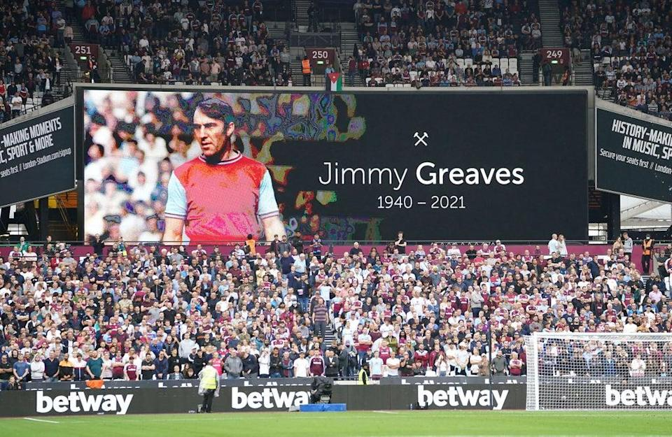 Tributes were paid to Greaves ahead of West Ham's match against Manchester United (Mike Egerton/PA) (PA Wire)