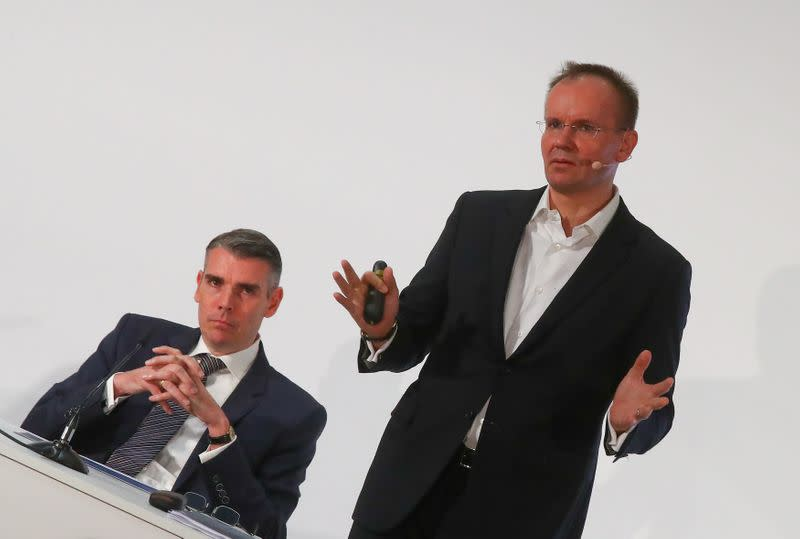 FILE PHOTO: Braun and von Knoop of Wirecard AG attend the company's annual news conference in Aschheim