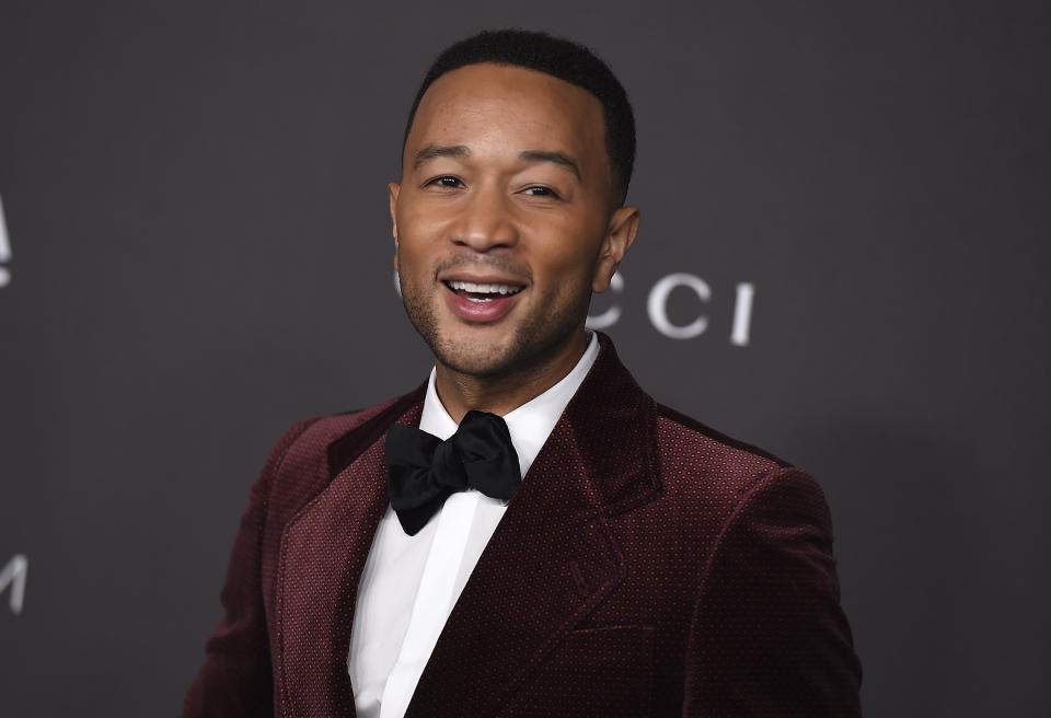 John Legend arrives at the 2019 LACMA Art and Film Gala at Los Angeles County Museum of Art on Saturday, Nov. 2, 2019, in Los Angeles. (Photo by Jordan Strauss/Invision/AP)
