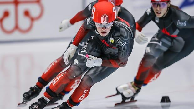 Kim Boutin of Sherbrooke won a second straight speed skating race to take  the 1,000-metre overall title Saturday at the Canadian short track championships in Montreal. (Speed Skating Canada - image credit)