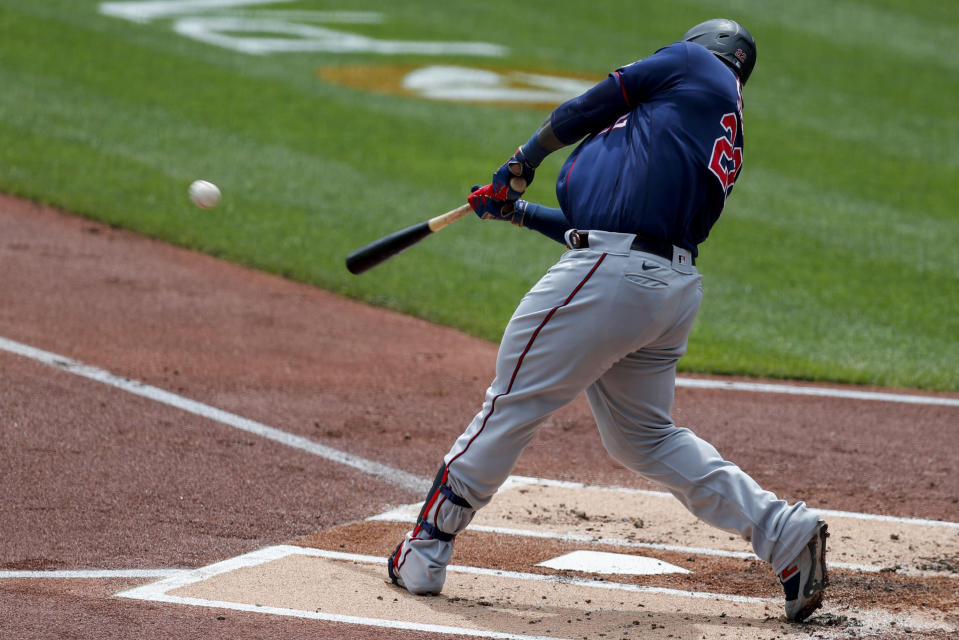 Minnesota Twins' Miguel Sano hits a three-run homer off Pittsburgh Pirates starting pitcher JT Brubaker in the first inning of a baseball game, Thursday, Aug. 6, 2020, in Pittsburgh. (AP Photo/Keith Srakocic)