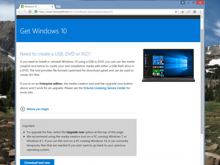 How to download a Windows 10 ISO file legally, and install