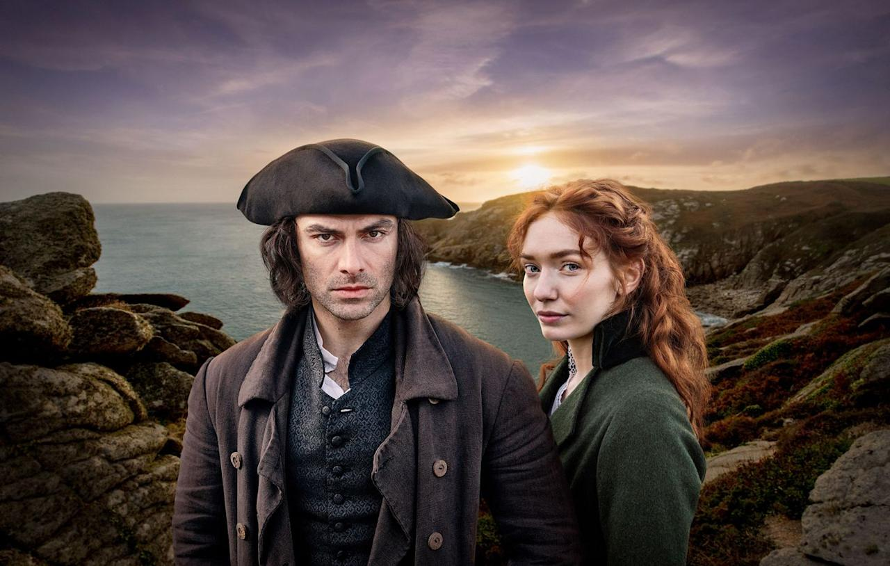 "<p>Consider <em><a href=""https://www.townandcountrymag.com/leisure/arts-and-culture/a22664475/poldark-season-5/"" target=""_blank"">Poldark</a></em> the Masterpiece PBS-version of <em>Outlander</em> (minus the time travel): There's a romance at the heart of the story, a smoldering leading man in Ross, and a strong female star in Demelza, but less overt sex and violence. There's also a change of landscape—instead of the Scottish highlands<em> </em>in the 18th century, Poldark is set in Cornwall after the Revolutionary War.</p><p><a class=""body-btn-link"" href=""https://www.amazon.com/Episode-One/dp/B00Z620OVW/ref=sr_1_2?keywords=Poldark&qid=1563988275&s=instant-video&sr=1-2&tag=syn-yahoo-20&ascsubtag=%5Bartid%7C10067.g.28484672%5Bsrc%7Cyahoo-us"" target=""_blank"">Watch Now</a></p>"