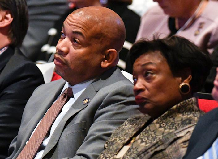 Assembly Speaker Carl Heastie, D-Bronx, left, and Senate Majority Leader, Andrea Stewart-Cousins, D-Yonkers, listen as New York Gov. Andrew Cuomo delivers his State of the State address and executive budget proposal at the Hart Theatre, Tuesday, Jan. 15, 2019, in Albany, N.Y.