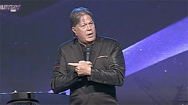 During a sermon at Destiny Church Brian Tamaki hinted that gays, murderers and sinners are to blame for natural disasters. Photo: Destiny Church