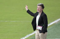 Canada head coach Deb Priestman calls out instructions during the first half of a SheBelieves Cup women's soccer match against Brazil, Wednesday, Feb. 24, 2021, in Orlando, Fla. (AP Photo/Phelan M. Ebenhack)