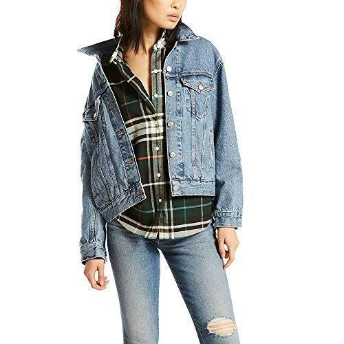 """<p><strong>Levi's</strong></p><p>amazon.com</p><p><strong>$55.65</strong></p><p><a href=""""https://www.amazon.com/dp/B071H81M9V?tag=syn-yahoo-20&ascsubtag=%5Bartid%7C2141.g.37148346%5Bsrc%7Cyahoo-us"""" rel=""""nofollow noopener"""" target=""""_blank"""" data-ylk=""""slk:Shop Now"""" class=""""link rapid-noclick-resp"""">Shop Now</a></p><p>The superstar brand of all denim, our list would not be complete without a few Levi's picks. The brand's Ex-Boyfriend Trucker jean jacket has received a 4.6-star rating and over 1,500 raving reviews on Amazon. Designed with an extra-relaxed silhouette, <strong>this denim jacket gives off a cool borrowed-from-the-boys look</strong>. So if you're all for a roomy feel, this one's for you.</p>"""