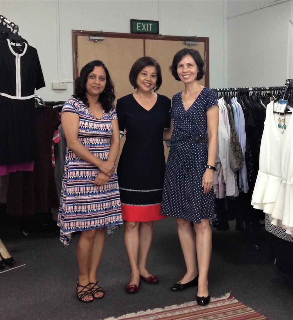Dress For Success Kathmandu founder with Li Kin (centre) and Elizabeth (right) in 2018. (PHOTO: Image Mission)