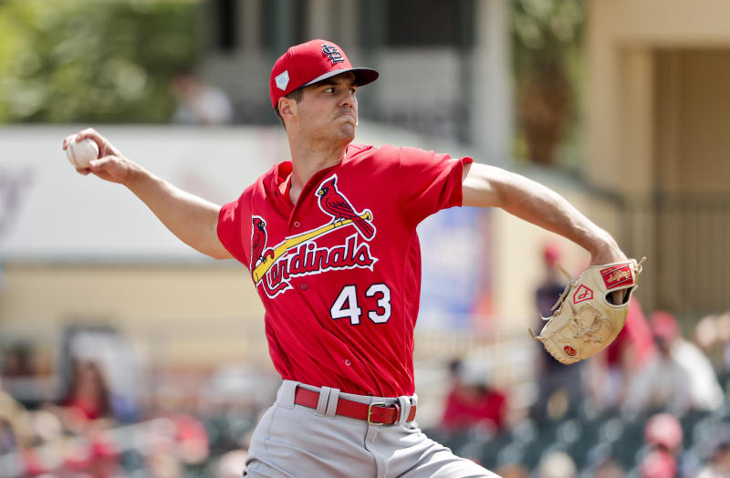FILE - In this March 13, 2019, file photo, St. Louis Cardinals starter Dakota Hudson (43) delivers a pitch in the first inning during an exhibition spring training baseball game against the Miami Marlins, in Jupiter, Fla. The 6-foot-5 right-hander could be a bigger part of the Cardinals pitching plans after a strong spring that includes a 1.72 ERA and 17 strikeouts over 15 2/3 innings. (AP Photo/Brynn Anderson, File)