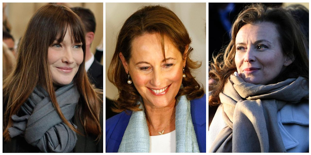 This combination of three file photos shows, on the left, Carla Bruni-Sarkozy, the superstar fashion model-turned songstress with a freewheeling lifestyle, who is handing the job of France's first lady to a twice-divorced journalist, Valerie Trierweiler, shown on the right - the first woman to enter the Elysee Palace unwed. And shown in the center is Segolene Royal, the mother of France's preseident-elect Francois Hollande's four children and former Socialist presidential candidate who ran against Nicolas Sarkozy in 2007. (AP Photos/File)