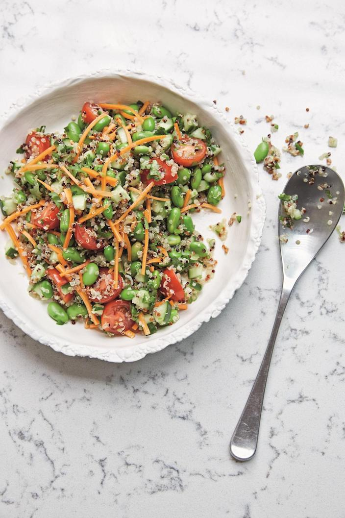 <p>A delicious bowlful, blending superfood quinoa with edamame beans, cucumber, carrot and tomatoes, with optional Thai dressing. Full recipe available in itsu 20-minute Suppers by Julian Metcalfe and Blanche Vaughan, published by Mitchell Beazley (£18.99).<i> [Photo: Tamin Jones]</i></p>