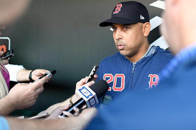 Boston Red Sox manager Alex Cora talks to reporters before a baseball game against the Baltimore Orioles, Monday, May 6, 2019, in Baltimore. (AP Photo/Nick Wass)