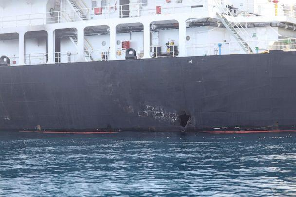 PHOTO: An image released by the Pentagon shows what the Navy says is the damage on the starboard side of the Kokuka Courageous, which was sustained from a limpet mine attack on a June 13, 2019, while operating in the Gulf of Oman. (Us Navy/Reuters)