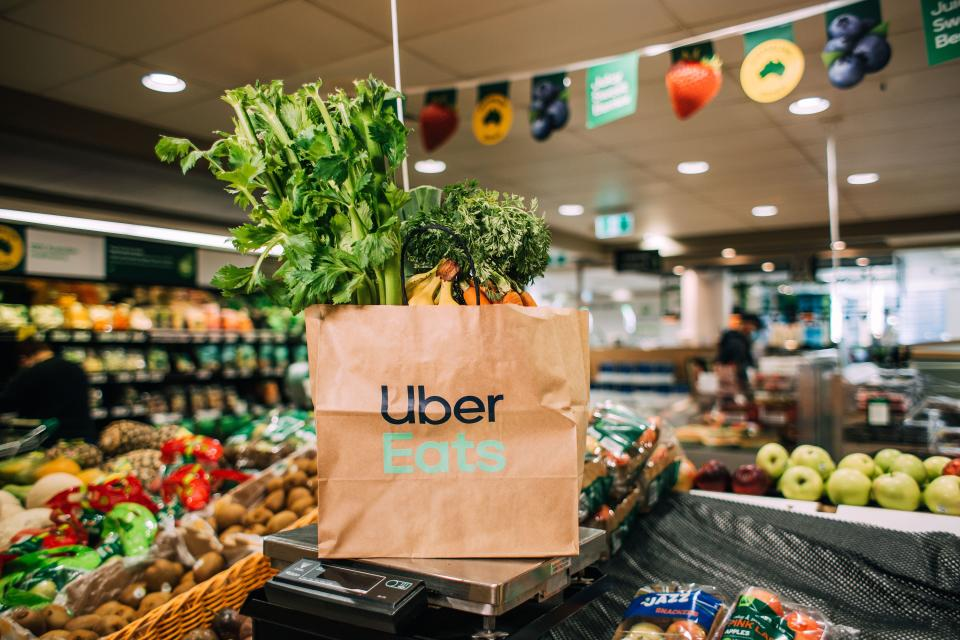 Uber Eats bag in Woolworths produce section. Source: Woolworths
