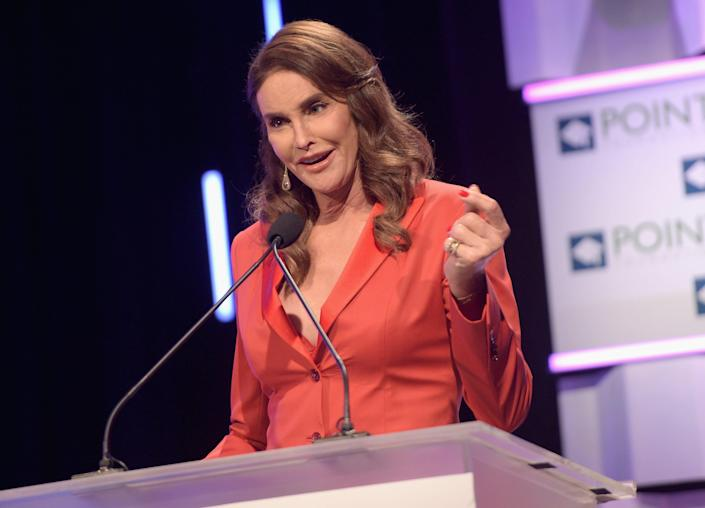 Caitlyn Jenner addresses the Point Foundation's gala in 2015 in Los Angeles.