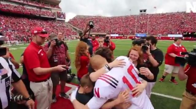 <p>Staff Sergeant Matthew Hawke returned home after being deployed for more than 10 months in Afrghanistan. He surprised his family at the coin toss during Nebraska's spring game when he dressed up in a Huskers football uniform.</p><p>Watch Hawke reveal his identity to his family below:</p><p>It's okay to be crying.</p>