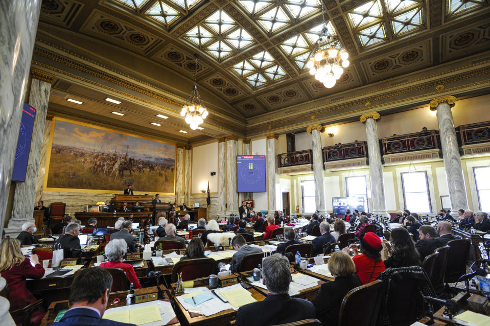 The Montana House of Representatives holds a floor session in the State Capitol in Helena, Mont. on Monday, Jan. 25, 2021. (Thom Bridge/Independent Record via AP)