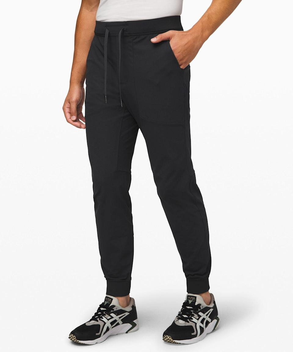 """<p><strong>Lululemon</strong></p><p>lululemon.com</p><p><strong>$128.00</strong></p><p><a href=""""https://go.redirectingat.com?id=74968X1596630&url=https%3A%2F%2Fshop.lululemon.com%2Fp%2Fmen-joggers%2FAbc-Jogger%2F_%2Fprod8530240&sref=https%3A%2F%2Fwww.goodhousekeeping.com%2Fholidays%2Fvalentines-day-ideas%2Fg3077%2Fvalentines-day-gifts-for-him%2F"""" rel=""""nofollow noopener"""" target=""""_blank"""" data-ylk=""""slk:Shop Now"""" class=""""link rapid-noclick-resp"""">Shop Now</a></p><p>The cheap joggers he's been wearing for years are fine for around-the-house wear, but this tapered pair from Lululemon is better suited for light outdoor activities, errands, and anything else he does on the day-to-day. Pick between three inseam lengths and 13 neutral colors. </p>"""