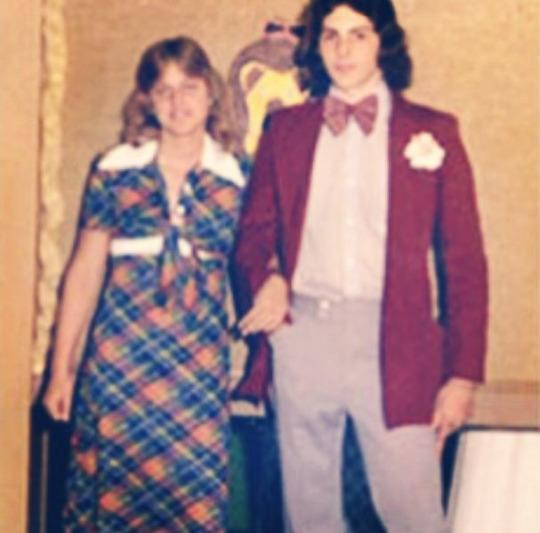 """<p>Ellen DeGeneres was one groovy chick in her plaid prom dress and feathered hair. The talk show host shared this amazing throwback photo of her and her cute prom date, who also looked pretty stylish (for the '70s) in his burgundy jacket and matching bow tie. """"Happy #PromTBT. Yes, this is real,"""" the funny lady <a rel=""""nofollow noopener"""" href=""""https://www.instagram.com/p/ndiCfbtjF8/"""" target=""""_blank"""" data-ylk=""""slk:cracked"""" class=""""link rapid-noclick-resp"""">cracked</a> on Instagram. (Photo: Instagram) </p>"""