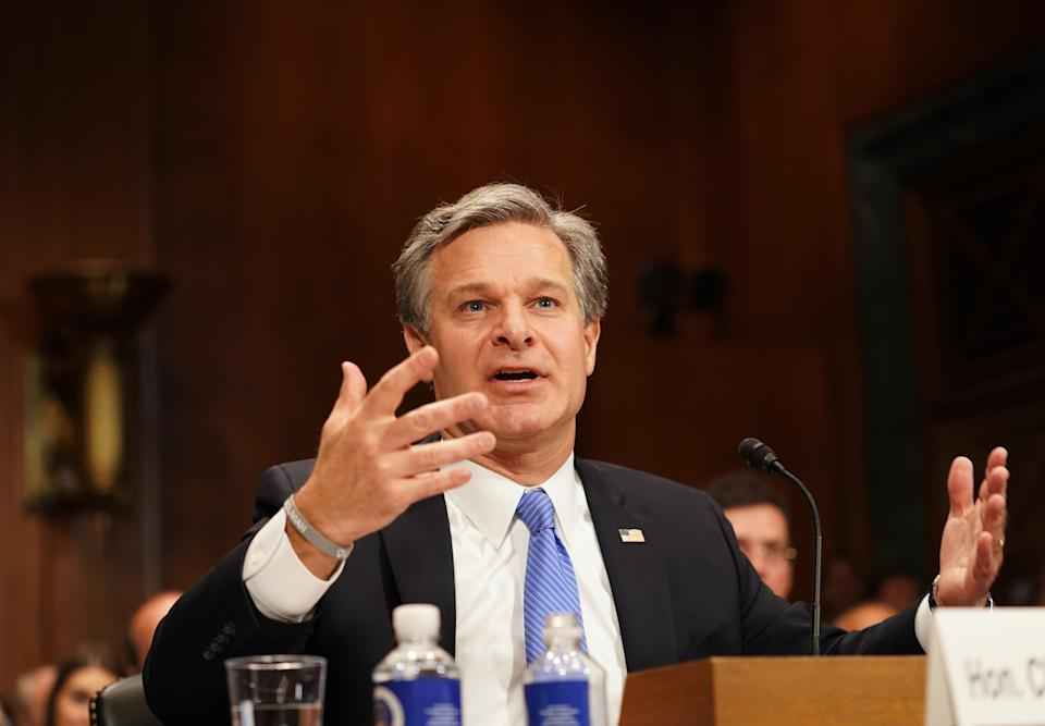 """FBI Director Christopher Wray testifies before a Senate Judiciary Committee hearing on """"Oversight of the Federal Bureau of Investigation"""" on Capitol Hill in Washington D.C., the United States, on July 23, 2019. (Photo: Liu Jie/Xinhua via Getty)"""
