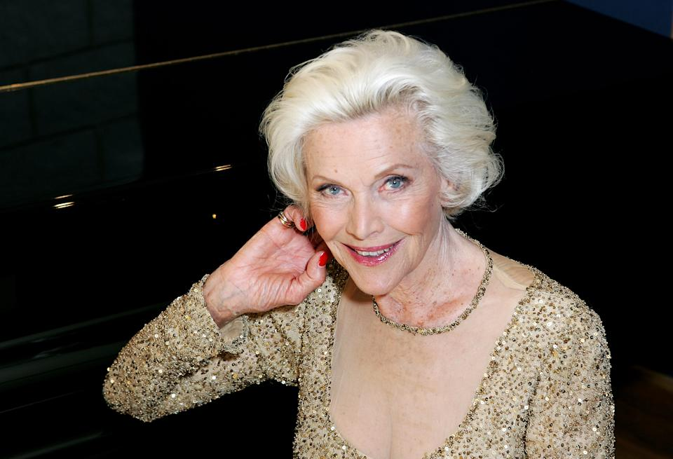 Honor Blackman poses for a photograph whilst recording her single 'The Star Who Fell From Grace' at Angel Studios on May 15, 2008 in London, England.  (Photo by Rosie Greenway/Getty Images)