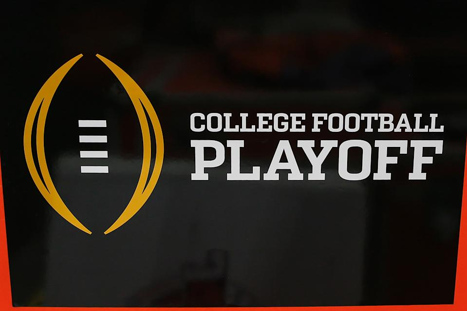 GLENDALE, AZ - DECEMBER 28:  The college football playoff logo before the Fiesta Bowl college football playoff semi final game between the Clemson Tigers and the Ohio State Buckeyes on December 28, 2019 at State Farm Stadium in Glendale, Arizona. (Photo by Kevin Abele/Icon Sportswire via Getty Images)