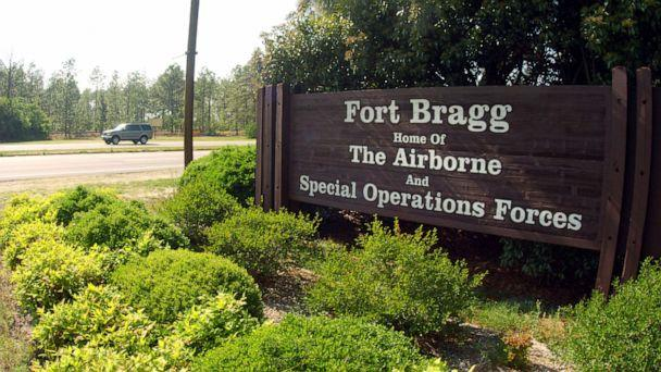 PHOTO: A sign shows Fort Bragg information, May 13, 2004 in Fayettville, North Carolina. (Logan Mock-bunting/Getty Images)