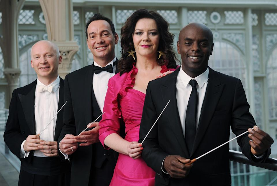 (left - right) Marcus du Sautoy, Craig Revel Horwood, Josie Lawrence and Trevor Nelson at the Royal Opera House in London today, where it was announced they would be the new contestants of the BBC show Maestro at the Opera, a three part series in which precipitants will train to become an orchestral conductor.   (Photo by Stefan Rousseau/PA Images via Getty Images)