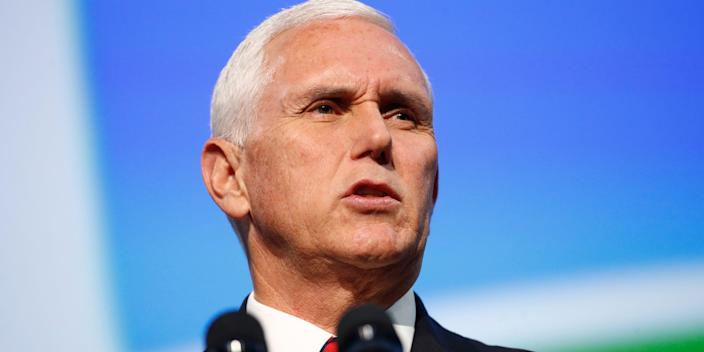 FILE - In this Oct. 21, 2019, file photo, Vice President Mike Pence speaks at the opening ceremony of the International Astronautical Congress, in Washington. President Donald Trump closed out the old year by reprising a selection of his most familiar falsehoods and putting a few of his predecessor's accomplishments in his own win column. Pence, seeking to justify the U.S. military's targeted killing of a top Iranian general, helped begin the new year with a baseless claim tying that general to the 9/11 attacks. (AP Photo/Patrick Semansky, File)
