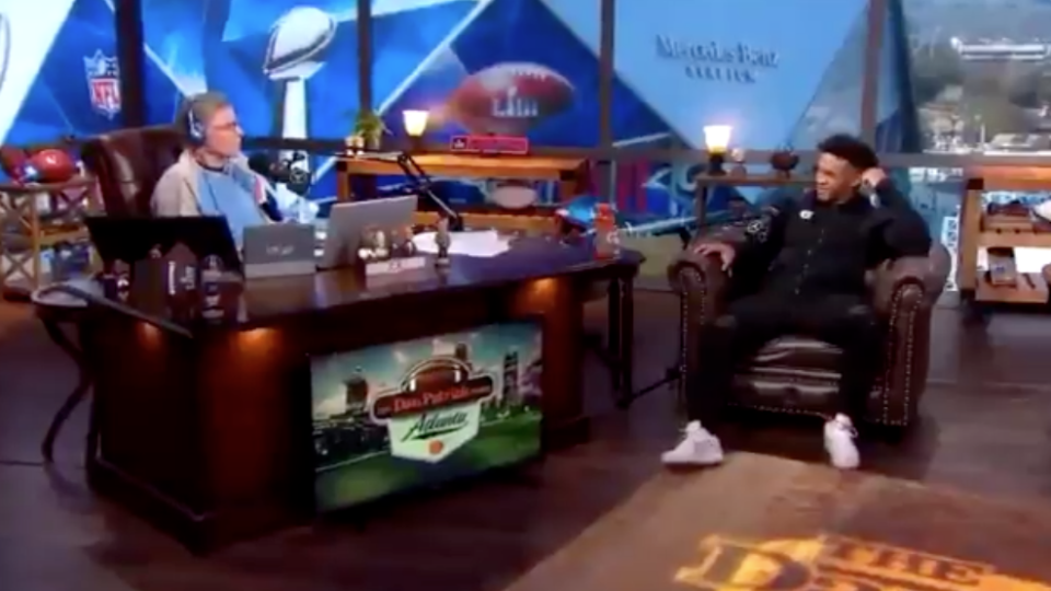 """<a class=""""link rapid-noclick-resp"""" href=""""/ncaaf/players/255122/"""" data-ylk=""""slk:Kyler Murray"""">Kyler Murray</a> wasn't in the mood to answer Dan Patrick's questions about his future. (Screenshot)"""