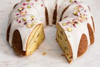 "Rose water infuses this tender cake with an intoxicating aroma perfectly matched by sweet-tart spring rhubarb—it's ideal served with a cup of tea. <a href=""https://www.epicurious.com/recipes/food/views/rhubarb-pistachio-bundt-cake-with-rose-glaze-56389533?mbid=synd_yahoo_rss"" rel=""nofollow noopener"" target=""_blank"" data-ylk=""slk:See recipe."" class=""link rapid-noclick-resp"">See recipe.</a>"