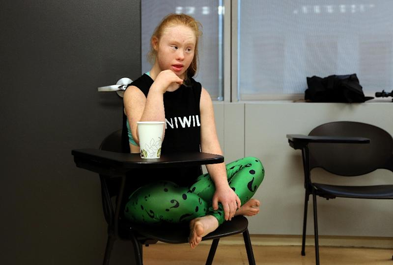 Model Madeline Stuart from Brisbane, Australia looks on during rehearsals for the FTL MODA presentation at New York Fashion Week in New York, on September 12, 2015 (AFP Photo/Trevor Collens)