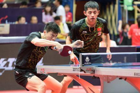 Table Tennis - China Open tournament - Men's Doubles First Round Match - Chengdu - China - June 22, 2017 - Ma Long (CHN) of China and Zhang Jike (CHN) of China compete during the China Open tournament. Picture taken June 22, 2017. REUTERS/Stringer