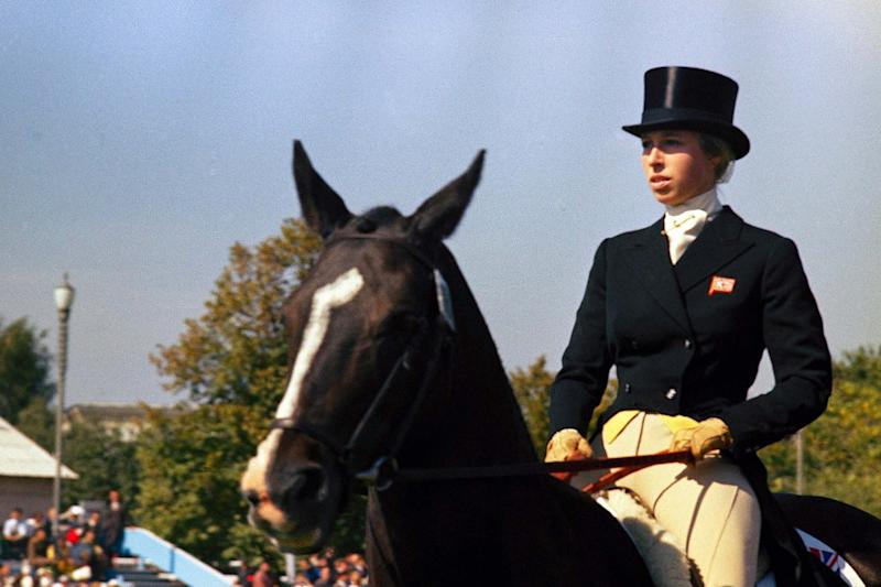 Princess Anne rides in the three-day European Championship in Kyev in 1973 (AP)