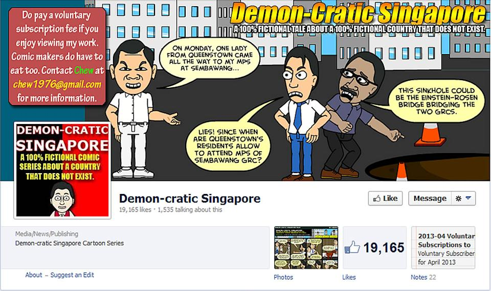 """Cartoonist Leslie Chew has been arrested for two cartoon posts under his """"Demon-cratic Singapore"""" series. (Facebook screengrab) ."""