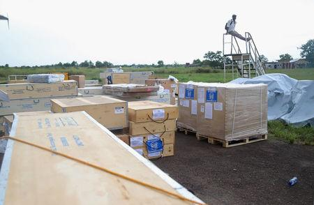 World Health Organization (WHO) medical supplies to combat the Ebola virus are seen packed in crates at the airport in Mbandaka, Democratic Republic of Congo May 19, 2018. REUTERS/Kenny Katombe