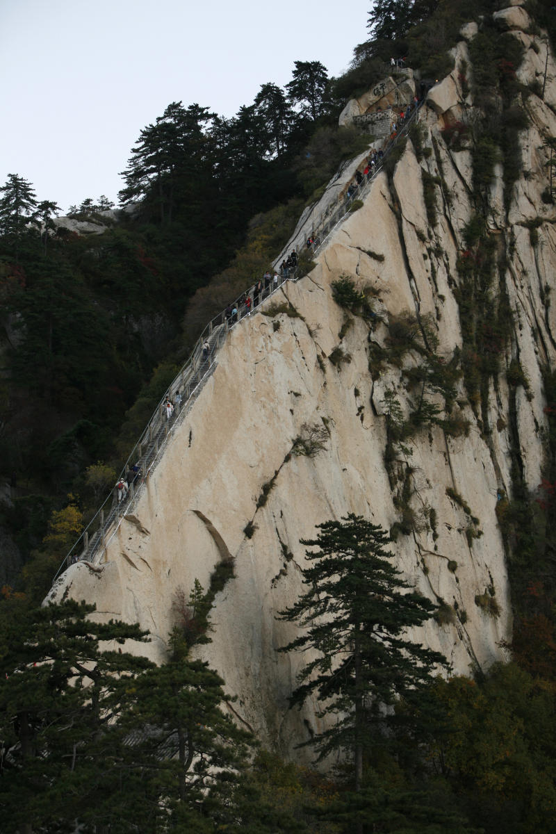 Pictured is Canglong Ridge on the Huashan Mountain, located at an altitude of 2154.9 meters in the Qinling Mountain Range, is one of the Five Sacred Mountains of China and is recognised as the most precipitous mountain in the country