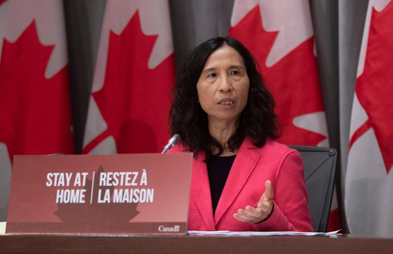 Chief Public Health Officer Theresa Tam speaks during a news conference in Ottawa on March 26, 2020. (Photo: Adrian Wyld/CP)