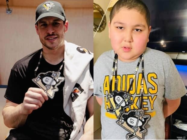 Dian Green, right, is battling his third bout of cancer and was able to virtually meet his lifelong hockey hero Sidney Crosby earlier in April. His family gifted a beaded medallion to the hockey player. (Pittsburgh Penguins/Rachel Green - image credit)