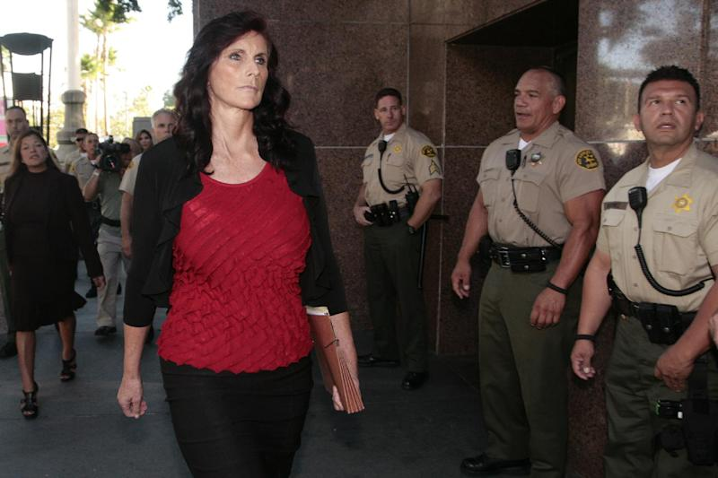 "Cindy Lee Garcia, left, one of the actresses in ""Innocence of Muslims,"" arrives for a hearing at Los Angeles Superior Court in Los Angeles, Thursday, Sept. 20, 2012. Garcia is asking a judge to issue an injunction demanding the 14-minute trailer for ""Innocence of Muslims"" be pulled from YouTube. (AP Photo/Jason Redmond)"