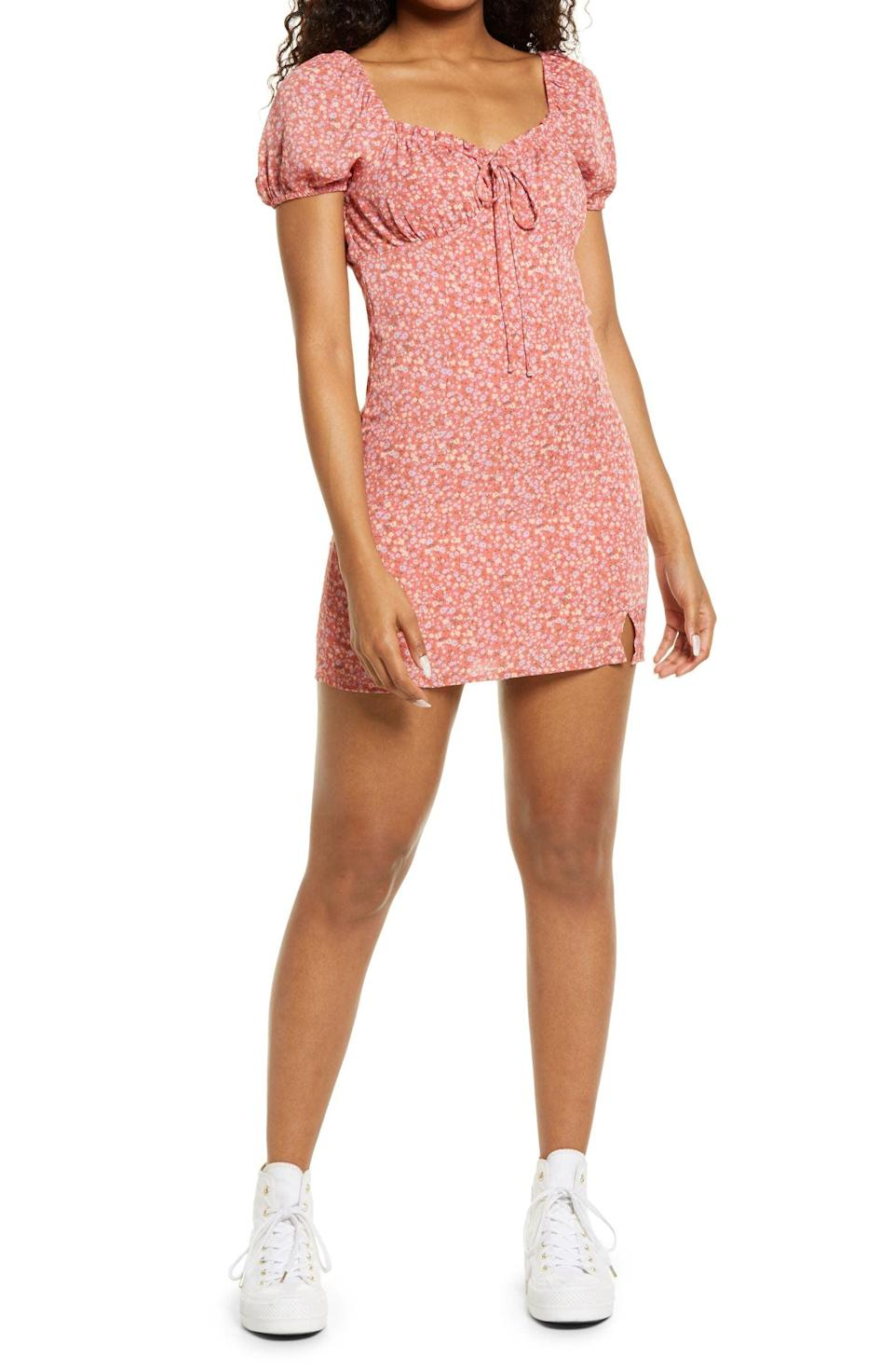 <p>This <span>BP. Ditsy Floral Tie Front Minidress</span> ($39) is perfect for spring picnics or warm beach days.</p>